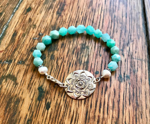 Sea Green Amazonite Gemstone Bracelet with a Large Silver Mandala and White Pearls