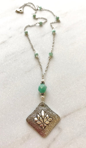 Silver Leaf Pendant Marquise Shaped with Pale Green Blue Amazonite and White Freshwater Pearl on Amazonite Rosary Chain