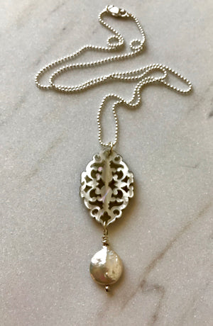 Lacey Cutout Silver Resin Pendant Necklace with White Freshwater Pearl Coin Drop on Silver Bead Chain