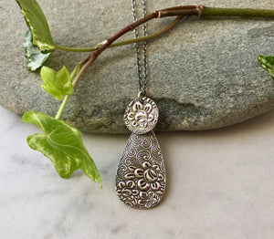 Kinetic Embossed Silver Floral Teardrop Pendant Necklace on Sterling Silver Chain