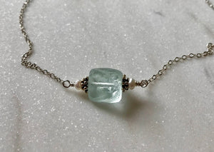 Rough Pale Blue Quartz Stone with Silver and White Freshwater Pearls on textured Silver Chain