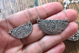 Silver Half Moon Necklace on Silver Chain