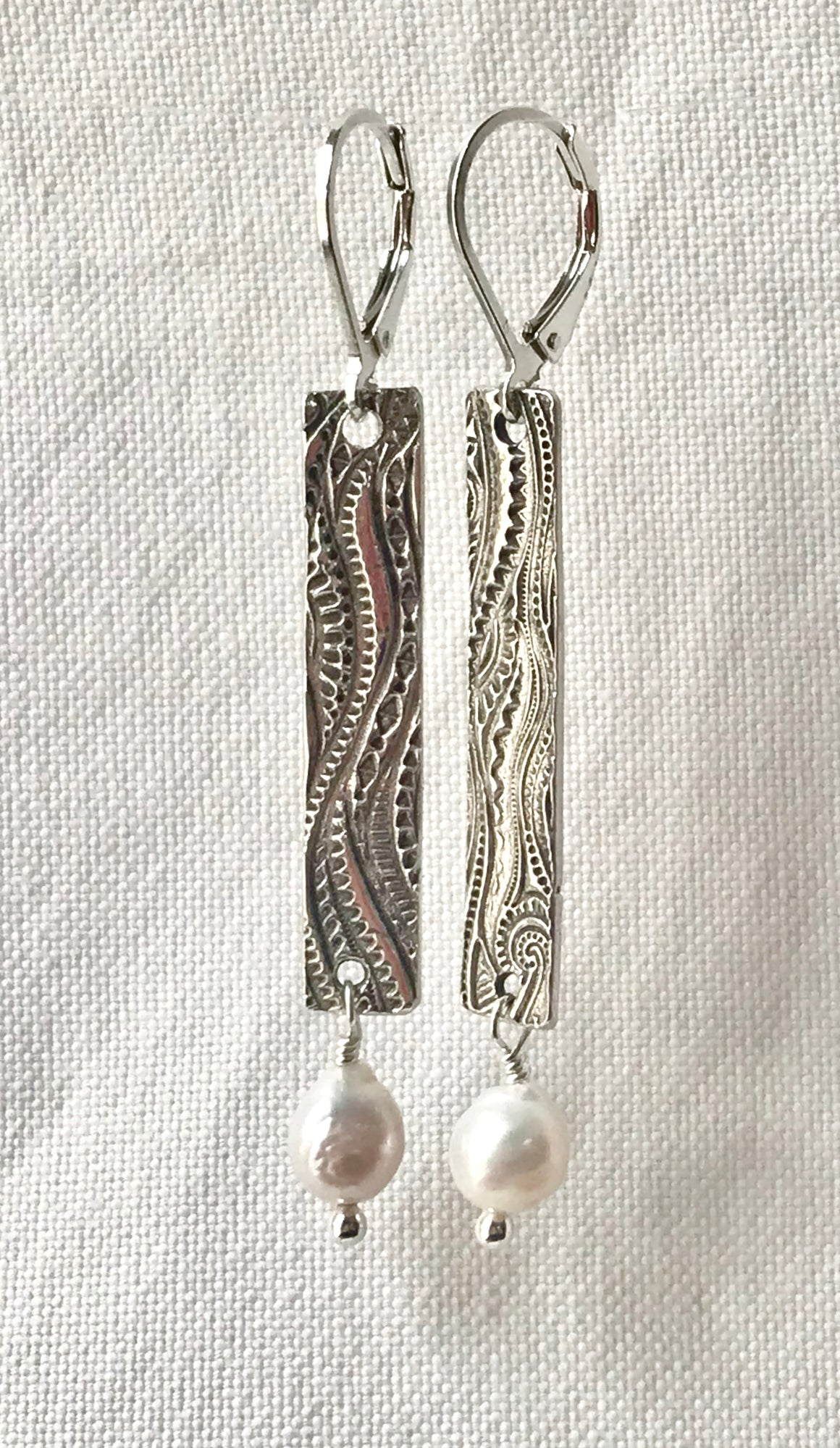 Long Narrow Silver Rectangle Earrings with White Freshwater Pearl Drops on Lever backs