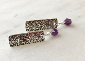 Silver Embossed Rectangle Post Earrings with Purple Amethyst and White Freshwater Pearl Dangles