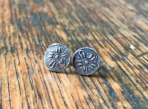 Funky Flower Silver Post Earrings
