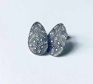 Small Embossed Silver Teardrop Shaped Post Earrings
