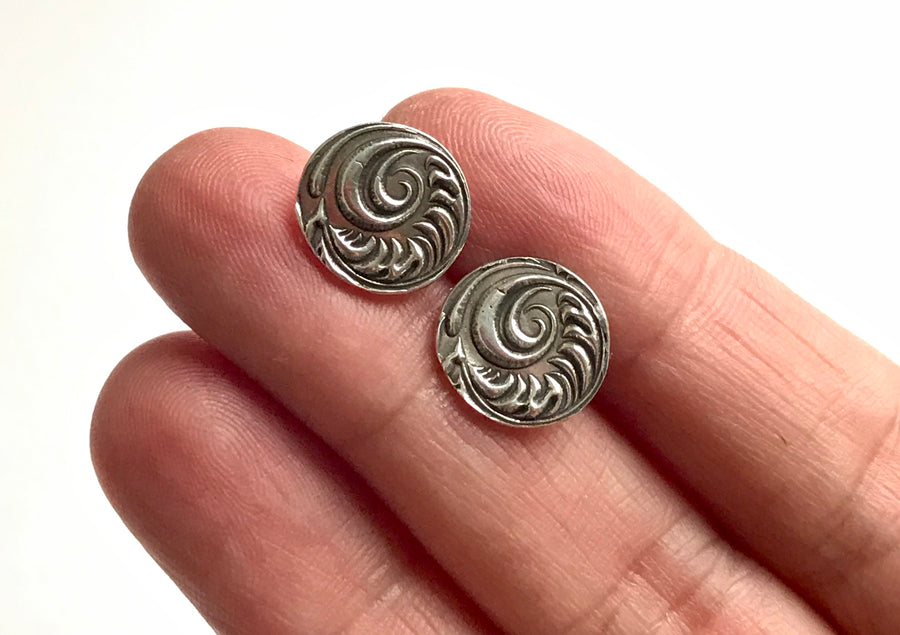 Silver Circle Post Earrings with Embossed Fancy Swirl Design