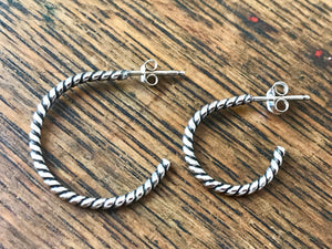 Sterling Silver Twisted Rope Hoop Earrings