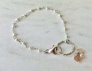 Pearl Chain Bracelet with Large Ring Clasp and Moonstone Charms