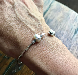 Thin Hammered Sterling Silver Cuff with Wire Wrapped White Pearls