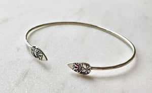 Thin Hammered Sterling Silver Cuff with Decorative Ends