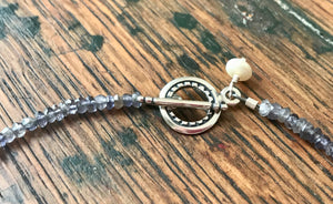 Iolite Gemstone Toggle Bracelet with a Silver Paisley Rectangle Link and Pearl Charm