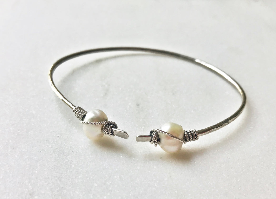 Winding Path Sterling Silver Cuff Bracelet with Wire-Wrapped White Pearls