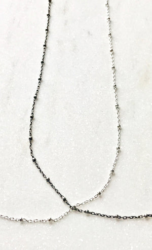 Simple Sterling Silver Satellite Chain Layering Necklace