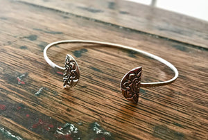 Sterling Silver Thin Hammered Adjustable Cuff Bracelet with Mandala Ends