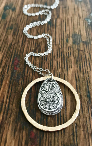 Silver Paisley Flower Teardrop Pendant in a Hammered Gold Hoop