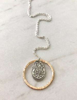 Subtle Goddess Silver Paisley Teardrop Necklace with a Hammered Gold Hoop
