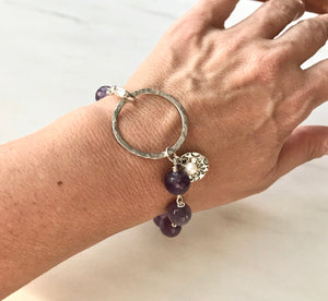 Round Purple Amethyst Wire Wrapped Chain Bracelet with a Large Silver Ring and White Pearl and Floral Charms