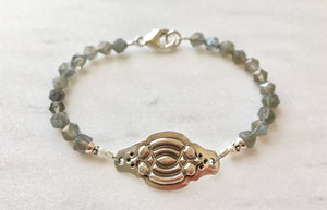 Labradorite Gemstone, White Pearl and Sterling Silver Art Deco Bracelet