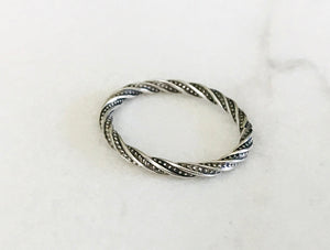 Sterling Silver Thick Twisted Rope Stacking Ring