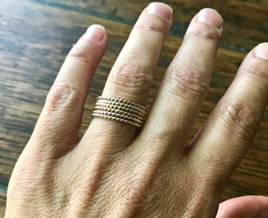 Mixed Metal Yellow Gold, Silver and Rose Gold Twisted Wire Stacking Rings set of 3