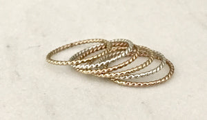 mixed metal twisted rope stacking rings