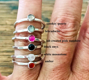 Sterling Silver and Gemstone Solitaire Stacking Ring