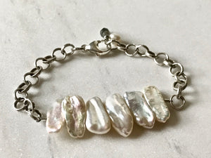 Festival of Light Stick Pearl and Silver Chain Bracelet