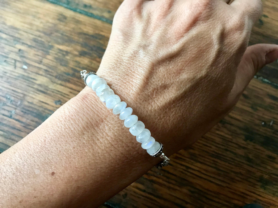 White moonstone and sterling silver chain bracelet