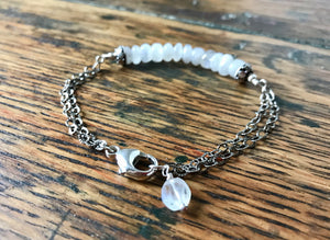 White moonstone and sterling silver chain bracelet with moonstone charm