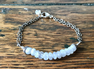 White Moonstone Bead Bracelet with Sterling Silver Chain