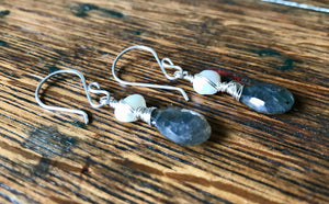 Faceted Labradorite Briolette Gemstone and White Freshwater Pearl Wire-Wrapped Dangle Earrings
