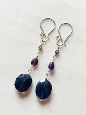 Faceted Iolite, Amethyst Gemstone and Sterling Silver Long Wire Wrapped Dangle Earrings