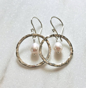 Silver Hammered Ring Dangle Earrings with a White Pearl Drop