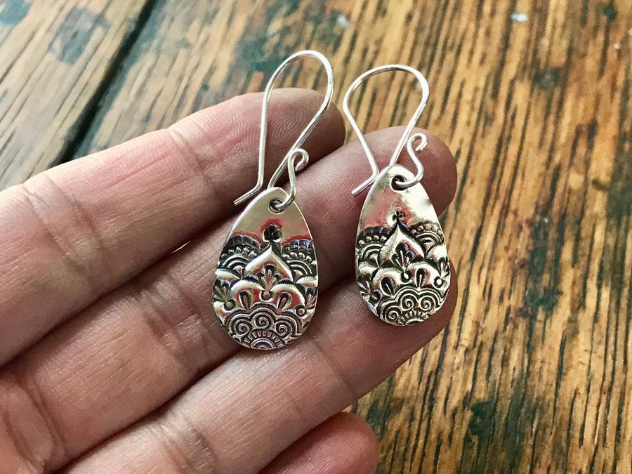 Silver Teardrop Mandala Earrings
