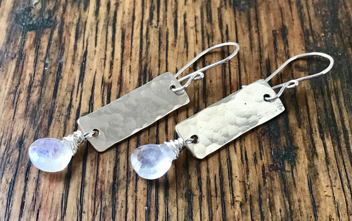 Silver Hammered Rectangle Dangle Earrings with White Moonstone Drops