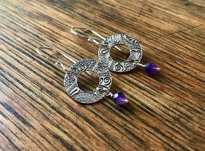 Silver Paisley Donut Earrings with Amethyst Drops