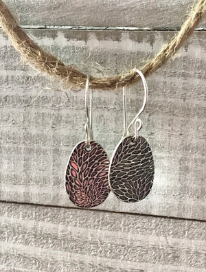 silver textured irregularly shaped egg dangle earrings