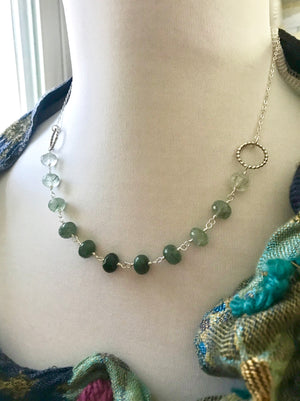 Wire Wrapped Ombre Green Rutilated Quartz Bead Necklace on Sterling Silver Chain