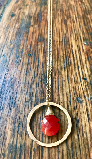 Hammered Gold Ring Pendant Necklace with a Wire Wrapped Burnt Orange Carnelian Stone on Gold Chain