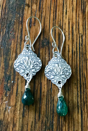 Silver and Green Labradorite Dangle Earrings