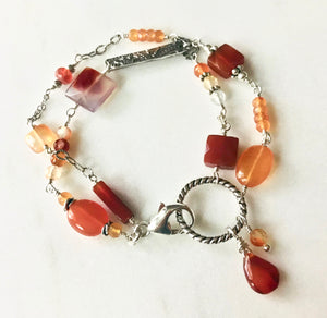 Double Strand Carnelian and Natural Agate Bracelet