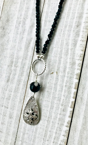 Long Black Onyx Necklace with Sterling and Fine Silver Teardrop Cross Pendant