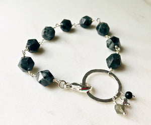 Black and Gray Larvikite Stone Wire-Wrapped Link Bracelet with Charms