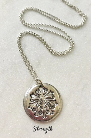 circular silver tree of life strength pendant necklace