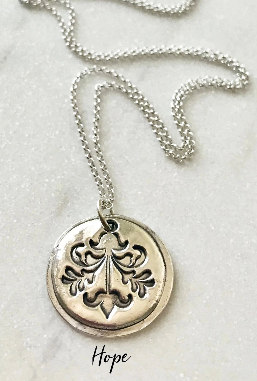 circular silver pendant necklaces with symbols hope friendship strength