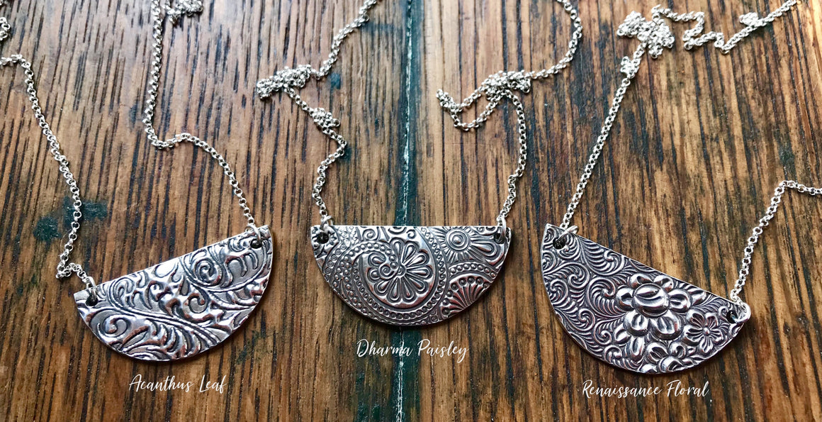 Silver Half Moon Pendant in variable patterns on silver chain