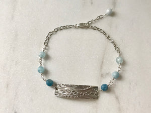 ocean themed rectangular Silver Link Bracelet with Aquamarine Gemstones on Silver Chain
