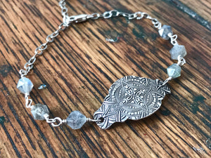 labradorite gemstone and silver chain bracelet with a large silver focal link