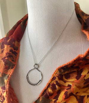 large hammered silver infinity necklace on silver chain
